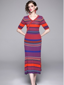 Retro Charming V-neck Waves Stripes Knitting Two Pieces Dress