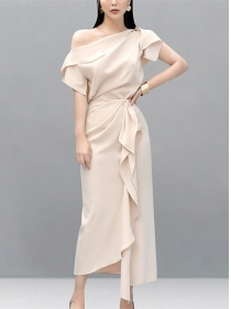Brand 2 Colors Off Shoulder Blouse with Flouncing Long Skirt