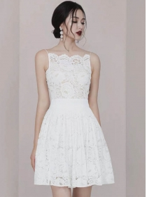 Pretty Lady Fitted Waist Lace Flouncing Straps Dress