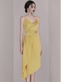 Summer Hot Selling Pleated Waist Sloping Straps Dress