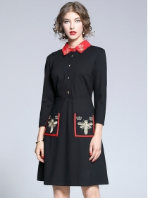 Autumn New Doll Collar Embroidery Long Sleeve Dress
