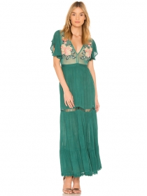 Sexy Fashion 2 Colors Embroidery V-neck Transparent Maxi Dress