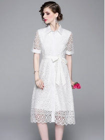 Fashion Lady 2 Colors Tie Waist Hollow Out A-line Dress