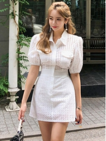 Summer Fashion 2 Colors Hollow Out Backless Shirt Dress