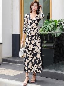 Fashion Lady Tie Waist Flowers V-neck Long Dress