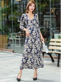 Wholesale Fashion V-neck Tie Waist Flowers Maxi Dress