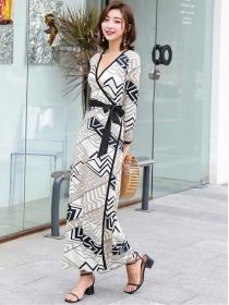 Bohemia Wholesale Tie High Waist Color Block Long Dress