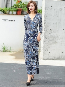 Retro Korea Fashion V-neck Flowers Printing Maxi Dress