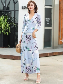 Wholesale Charming Tie Waist V-neck Flowers Long Dress