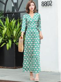 Pretty Fashion Tie Waist V-neck Flowers Long Dress