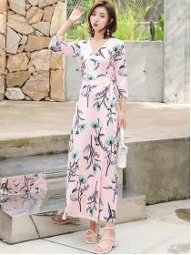 Pretty Korea Fashion Tie Waist V-neck Flowers Maxi Dress
