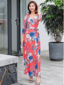 Charming Korea Tie Waist Flowers Printing Long Dress