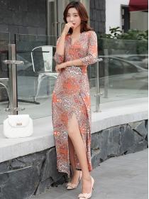 Bohemia Fashion V-neck Tie Waist Flowers Long Dress