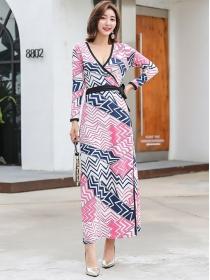 Fashion Wholesale V-neck Tie Waist Stripes Long Dress