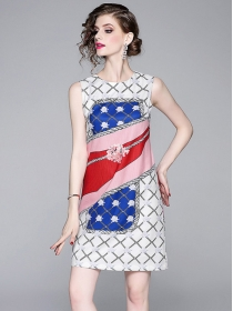 Wholesale Europe Round Neck Flowers Tank A-line Dress