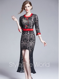Europe Stylish High Waist Rhinestones Dovetail Lace Long Dress