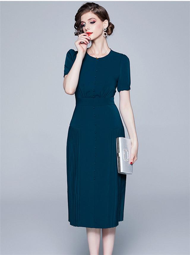 Grace Lady Round Neck High Waist Pleated A-line Dress