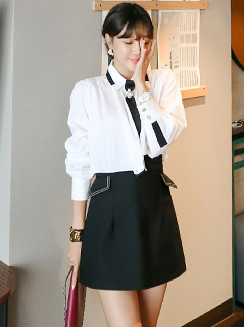 Autumn New Beads Tie Pleated Blouse with Short Skirt