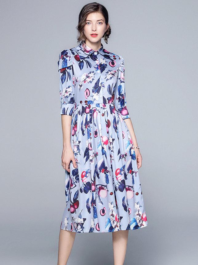 Europe Charming High Waist Shirt Collar Flowers Long Dress