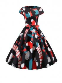 Wholesale Korea Round Neck Tie Waist Cartoon A-line Dress