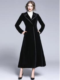 Quality Fashion Tailored Collar High Waist Velvet Long Coat
