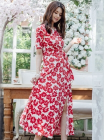 Charming Wholesale Tie Waist Flowers Split Long Dress