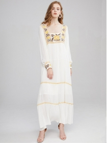 Bohemia Fashion Flowers Embroidery Square Collar Maxi Dress