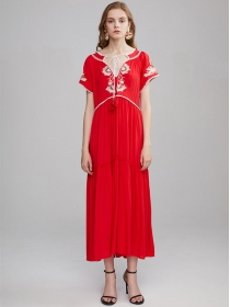 Quality Wholesale 3 Colors Flowers Embroidery High Waist Maxi Dress