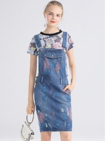 Pretty Flowers Lace Blouse with Painting Denim Straps Dress