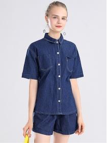 Summer Wholesale Shirt Collar Short Denim Two Pieces Suits