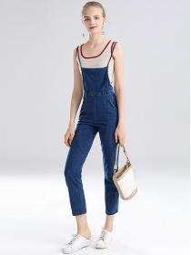 Europe Stylish Knitting Camisole with Straps Denim Jumpsuit