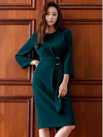 Grace Fashion Round Neck Tie Waist Long Sleeve Dress