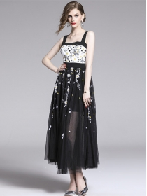 Pretty Fashion High Waist Flowers Embroidery Gauze Maxi Dress