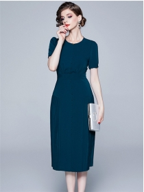 Grace Lady Round Neck High Waist Pleated A-line Dress