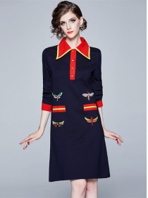 Europe Stylish Shirt Collar Bees Embroidery A-line Dress