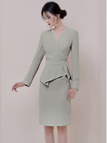 Elegant Lady V-neck Flouncing Waisy Slim Long Sleeve Dress