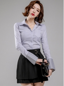 Autumn New Stripes Long Sleeve Blouse with Pleated A-line Skirt