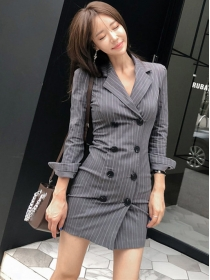 Korea Stylish Tailored Collar Double-breasted Stripes Dress