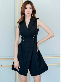 Modern Lady 2 Colors Tailored Collar Double-breasted Tank Dress