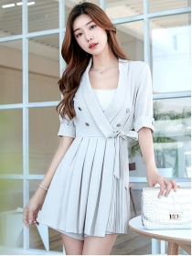Quality Fashion 2 Colors Tie Waist Double-breasted Pleated Dress