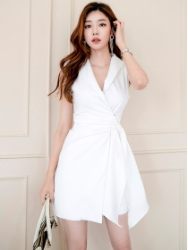 Grace Fashion 2 Colors Fitted Waist Tailored Collar A-line Dress