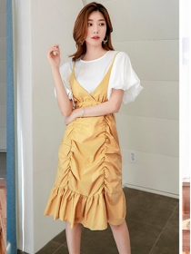 Autumn New Flare Sleeve Blouse with Pleated Fishtail Straps Dress