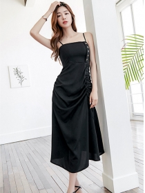 Hot Selling Draw-string Single-breasted Straps Long Dress