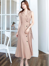 Modern Lady 2 Colors Single-breasted High Waist Long Dress