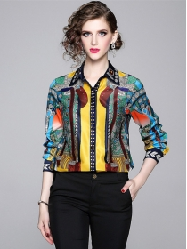 Europe New Color Block Flowers Long Sleeve Blouse