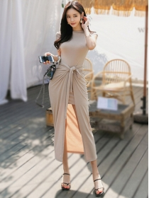 Fashion Korea 2 Colors Slim Cotton Two Pieces Dress