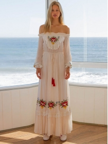Quality New Boat Neck Flowers Embroidery Long Dress