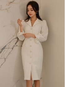 Elegant Lady Pearls Single-breasted Puff Sleeve Slim Dress