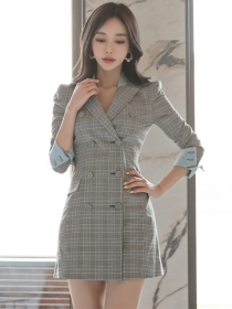 Modern Lady Tailored Collar Double-breasted Plaids Dress