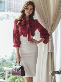 Fashion OL Tie Bowknot Collar Puff Sleeve Blouse with Skinny Skirt